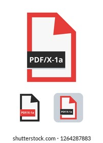pdf/x-1a file flat vector icon. Symbol of PDF/X-1a – the most common ISO standard for blind exchange of PDF in CMYK between graphic designer and printing plant or printing house isolated on white.