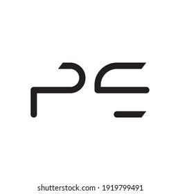 pe initial letter vector logo