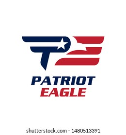 PE logo. letter based, Patriot Eagle icon