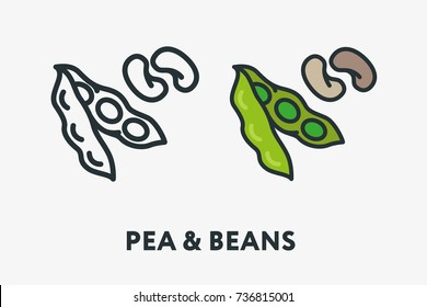Pea and Soy Beans Vegetable Concept Vegan Minimal Flat Line Outline Colorful and Stroke Icon Pictogram