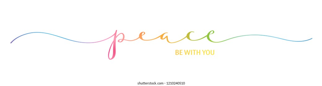 PEACE BE WITH YOU brush calligraphy banner