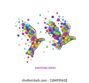 peace concept, pigeon created from the small colored parts, bird emotions icons multicolored isolated, vector