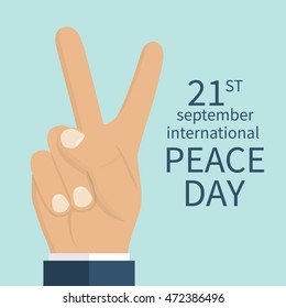 Peace Day, concept. September 21 International Day of Peace. Gesture of the hands, two fingers, symbol. Vector illustration flat design. Isolated hand on white background.