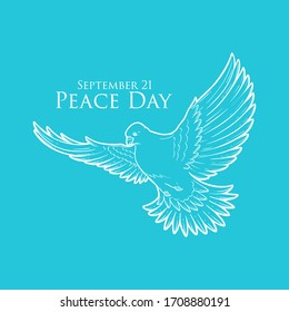 Peace Day concept with white pigeon or dove line art, greeting card for international holiday, love, hope and freedom sign, planet ecological problems poster, charity and humanity logo. September 21