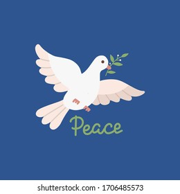 Peace day design with flying white dove with green olive twig in its beak. Vector flat illustration on dark blue background.
