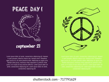 Peace day! September 21, two pictures concerning holiday presenting symbols and filling form for text isolated on green and purple vector illustration