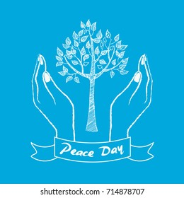 Peace day symbol with two hands taking care about growing tree vector illustration isolated on blue background. Human hands protecting plant