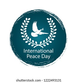 Peace Day vector logo with flying pigeon or dove