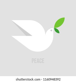 Peace dove. Flat style vector illustration of white pigeon with green leaves on gray background