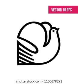 Peace dove flying, dove icon, logo, tattoo, 10 eps vector, flaticon