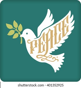 Peace dove with olive branch silhouette with lettering.
