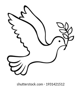 Peace Dove With Olive Oil Line art Icon