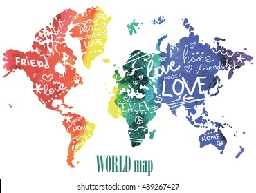 Peace, friendship and love. Posters, postcards, print on a T-shirt. World map with spots watercolor paint and words. Hearts, stars, patterns.