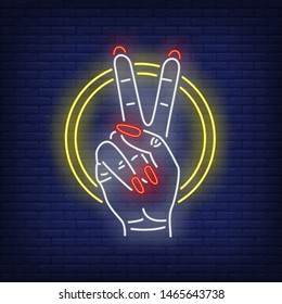 Peace gesture neon sign. Two fingers, female hand, victory, ring. Gestures concept. Vector illustration in neon style, glowing element for banners, posters, flyers