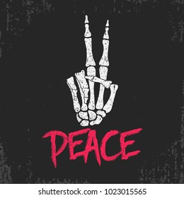 Peace gesture sign print with skeleton bones hand. Vintage design for t-shirt, clothes, grunge original apparel. Vector illustration.