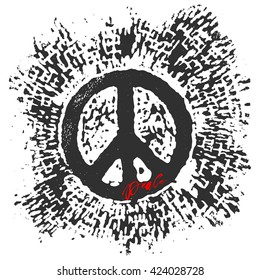 Peace hand drawn linotype made symbol. Concept hand lettering motivation poster. Artistic modern brush calligraphy design for a logo, greeting cards,  invitations, posters, banners, t-shorts.