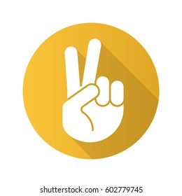 Peace hand gesture. Flat design long shadow icon. Two fingers up. Vector silhouette symbol