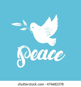 Peace hand written calligraphy lettering poster or card with hand drawn dove and olive branch on blue background. Vector illustration.