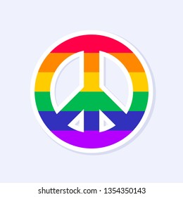 Peace Hippie Icon. LGBTQ+ related symbol in rainbow colors. Gay Pride. Raibow Community Pride Month. Love, Freedom, Support, Peace Symbol. Flat Vector Design Isolated on White Background