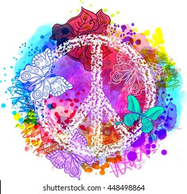 Peace Hippie Symbol over colorful background. Freedom, spirituality, occultism, textiles art. Vector illustration for t-shirt print over Abstract vector watercolor,chalk, pastels texture background.