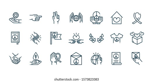 peace and human rights icons set line vector illustration
