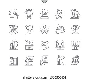 Peace and Humanrights Well-crafted Pixel Perfect Vector Thin Line Icons 30 2x Grid for Web Graphics and Apps. Simple Minimal Pictogram