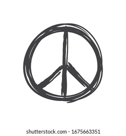 Peace icon doodle. Hand drawn sign of peace.