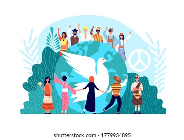 Peace international day. World global harmony, unity and religion. Hope or love symbol, dove and diverse people together vector concept