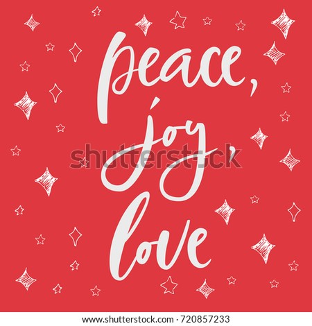 Peace joy love greeting card on stock vector royalty free peace joy love greeting card on christmas background hand lettering calligraphic christmas type m4hsunfo