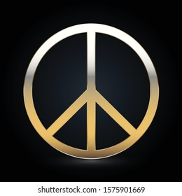 Peace and love antiwar gold icon pacifism symbol hippie culture sign