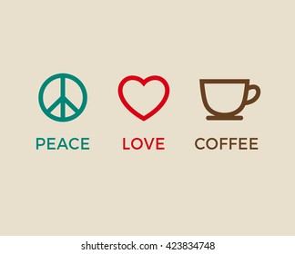 Peace, love and coffee symbols vector.