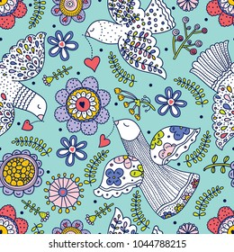 Peace, love and flowers. Cute seamless pattern.