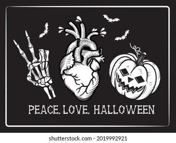 Peace. Love. Halloween. Vector Illustration with Skeleton`s hand, Heart, Pumpkin.
