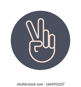 peace and love hand sign block and line icon vector illustration design