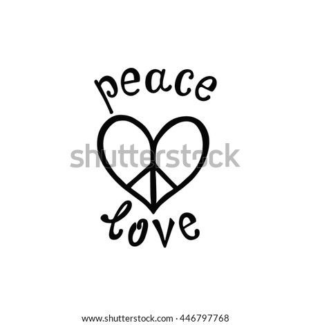 Peace Love Inspirational Quote Modern Calligraphy Stock Vector Adorable Quote About Peace And Love