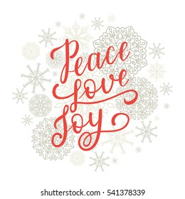 Peace Love Joy greeting card for New Year 2017. Vector winter holiday background with hand lettering calligraphy, snowflakes, falling snow.