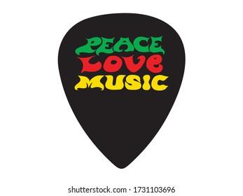 Peace, love, music lettering. Guitar signature pick/mediator design.