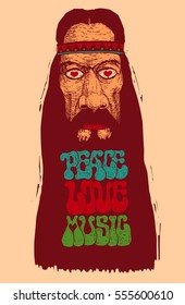 Peace, Love, Music. Retro Design With Old Hippie And Hand-Written Fonts. Vector Illustration.