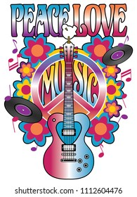 Peace, Love and Music retro styled text design with a heart shaped guitar, dove, peace symbol,  vinyl records, musical notes and flowers.