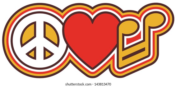 PEACE LOVE MUSIC retro-style design of a peace symbol, heart and barred note in red and gold.