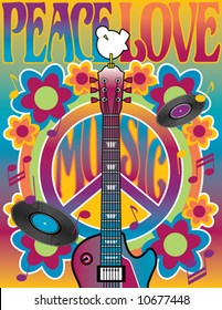 Peace Love Music vector illustration of a guitar, peace symbol and dove. A tribute to the Woodstock Music and Art Fair of 1969. Elements are on separate layers for easy editing. jpeg also available.
