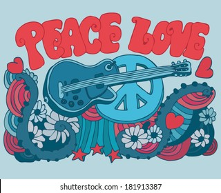 Peace Love Music vector illustration of a guitar, hippie symbol