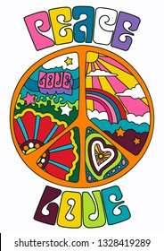 Peace and Love Psychedelic Sixties Hippie Style Pacific Symbol