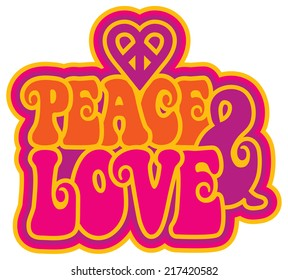 Peace & Love retro-styled text design with a peace heart symbol.