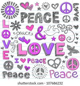 Peace & Love Sketchy Notebook Doodles Design Elements on Lined Sketchbook Paper Background- Vector Illustration