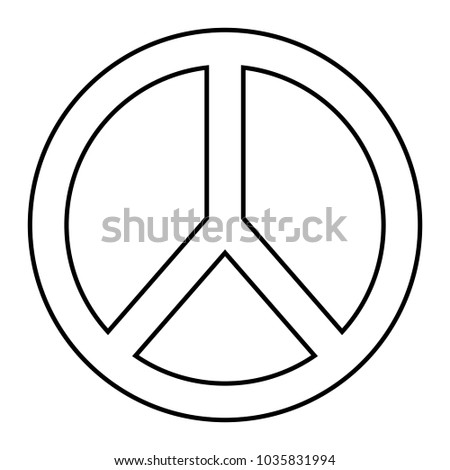 Peace Love Symbol Outline Design Stock Vector Royalty Free