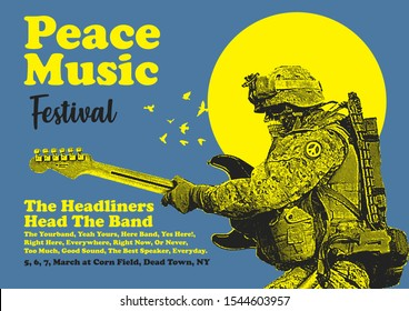 Peace Music Festival Gig Poster Flyer Template