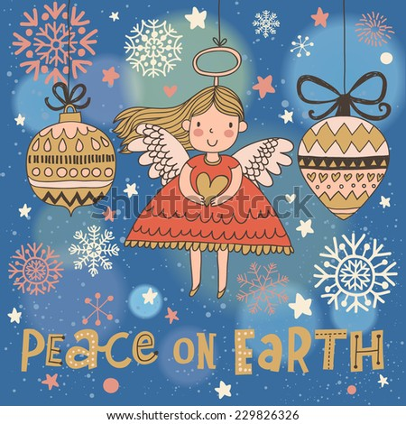 peace on earth cute christmas card in vector bright holiday background with small funny - Peace On Earth Christmas Cards