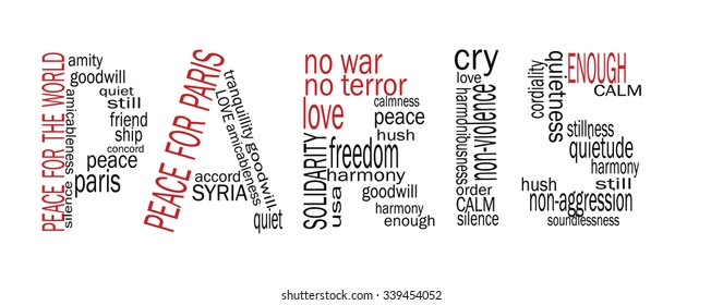 Peace for Paris. Word Paris in Word cloud style. Words representing peace after 13.november 2015.