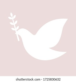 Peace pigeon. Purity, spirituality concept. Vector dove silhouette. Cut out laser shape.